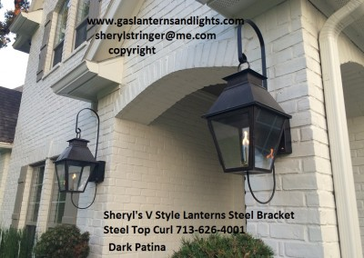 Sheryl's V Style Gas Lanterns with Dark Patina Finish, Steel Loop Bracket, Steel Top Curl, Solid Top
