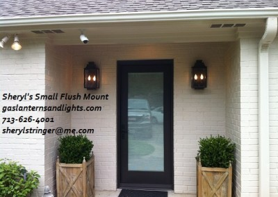 Sheryl's Small Flush Mount Electric Lantern, Dark Patina Finish, Two Bulb Candelabra Base