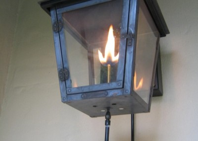 Sheryl's Style 1 Gas Lantern, Dark Patina Finish, Steel Wall Bracket