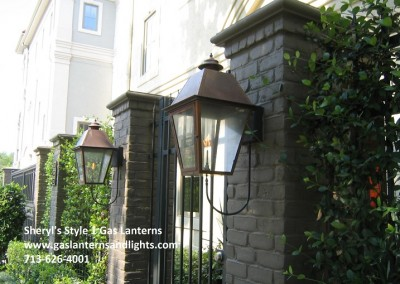 Sheryl's Style 1 Gas Lantern with Natural Copper Finish, Steel Wall Bracket