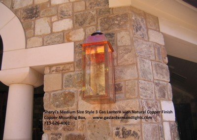 Sheryl's Style 3 Flush Mount Lantern with Natural Copper Finish