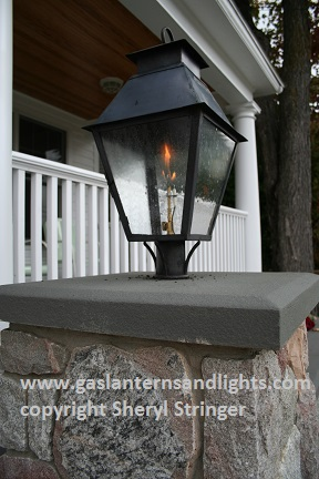 Sheryl's V Style Gas Lantern on Column with Flat Steel Plate Column Mount Bracket